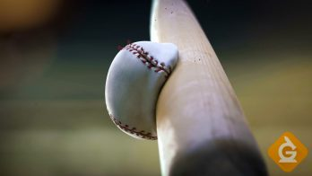 baseball collision with a bat in slow motion
