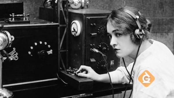 woman using a morse code machine to transfer information