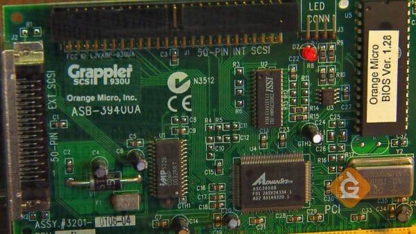 closeup of a green circuit board