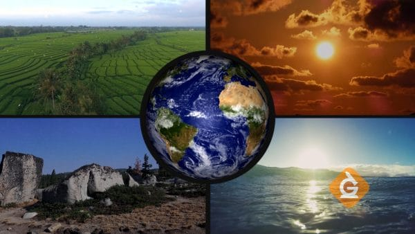 The 4 spheres of earth interact