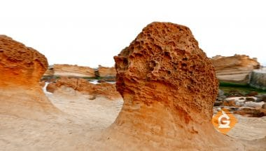This rock is a good example of erosion from earth's spheres