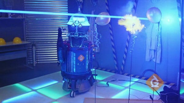 light from a laser is used to blow up a balloon