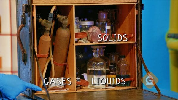 various items of solids liquids and gases