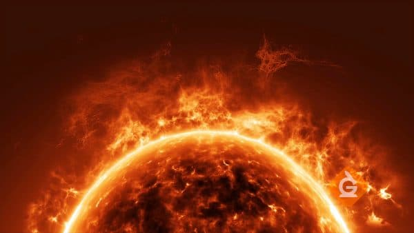 closeup animation of the sun showing flames