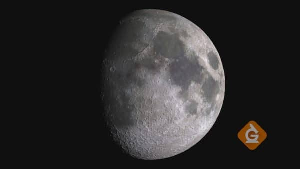 gibbous moon close up