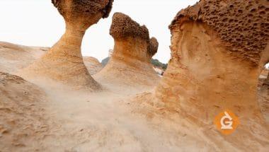The weathering process creates mushroom rocks
