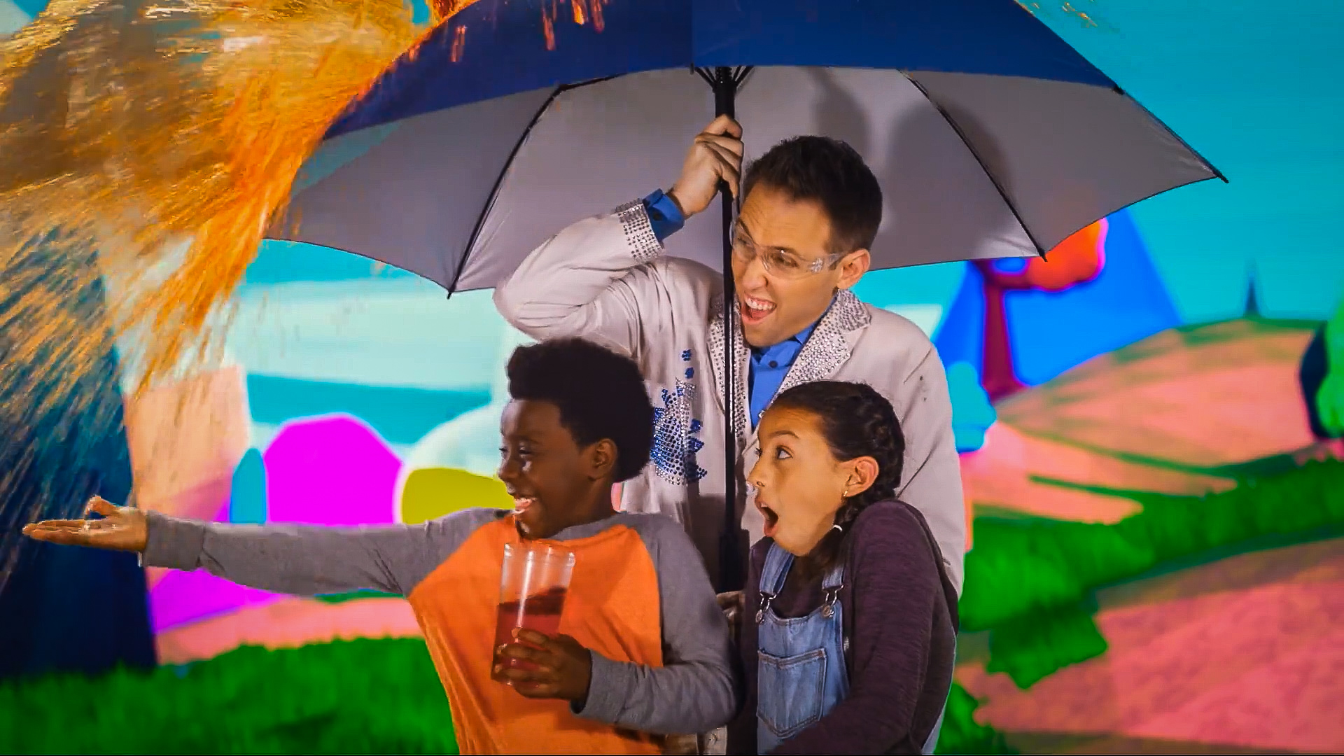 scientist and kids explore solids liquids and gases