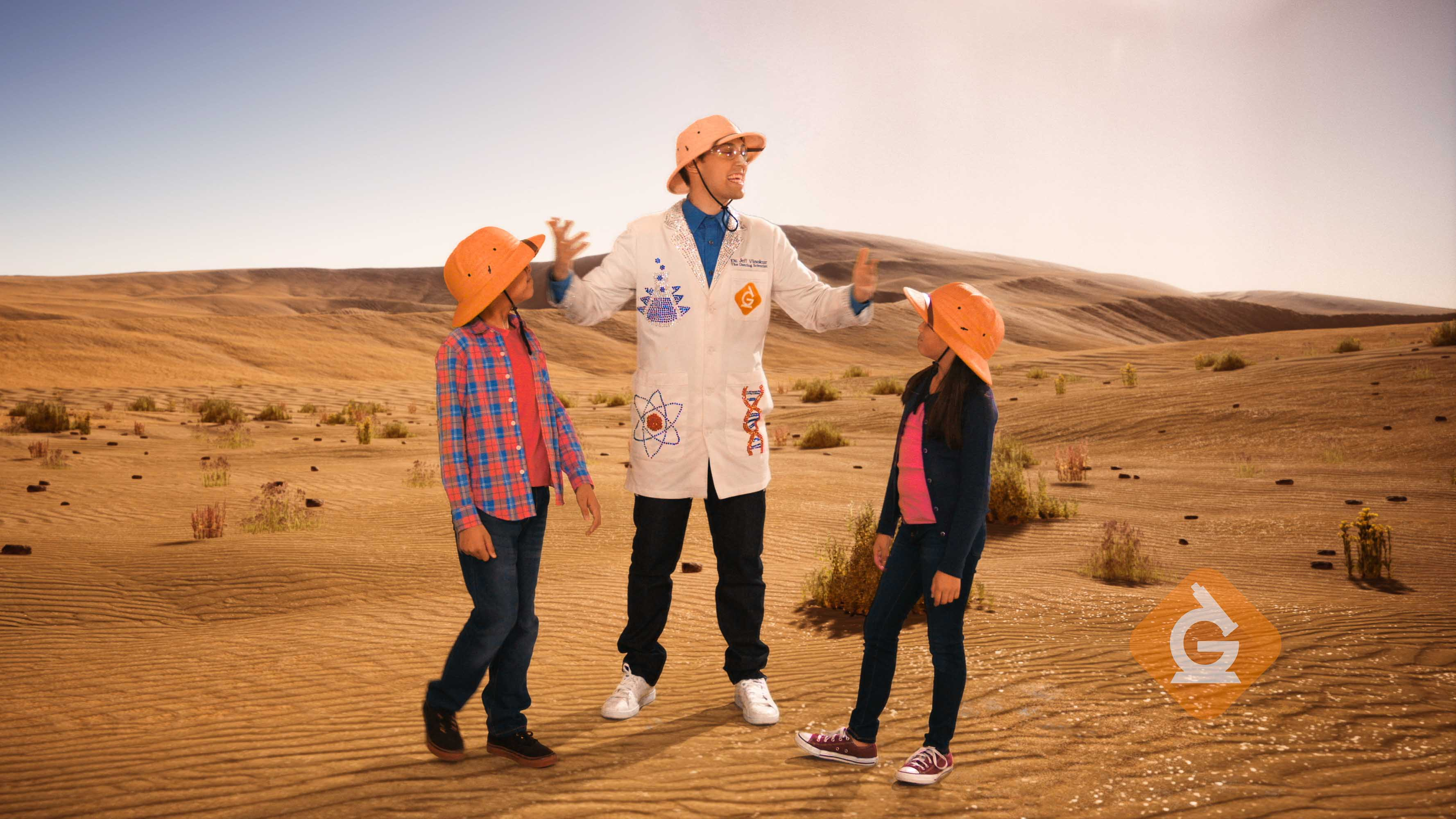 scientist explains sunlight to kids in the desert