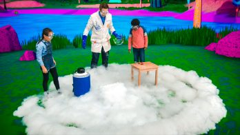 scientist creates a cloud in an experiment for kids