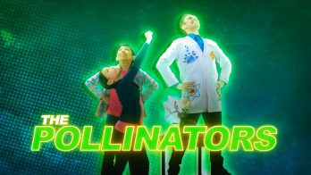scientist kids pose as pollinators