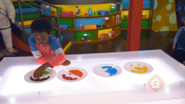 boy sorts candies by color