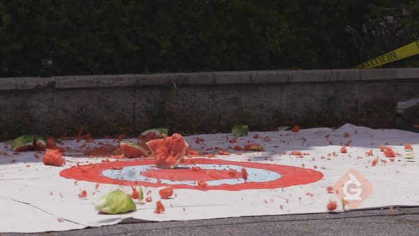 watermelon smashed by falling off building