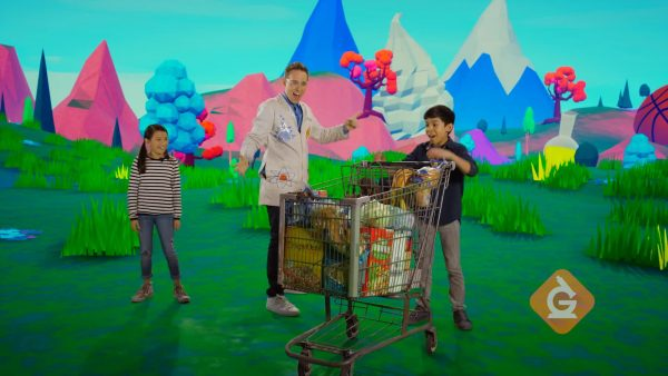 scientist and kids show how a shopping cart can be pushed and pulled with force