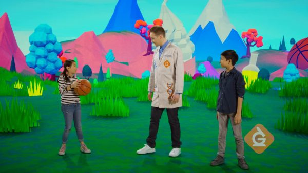 scientist and kids show how a basketball can be pushed with force