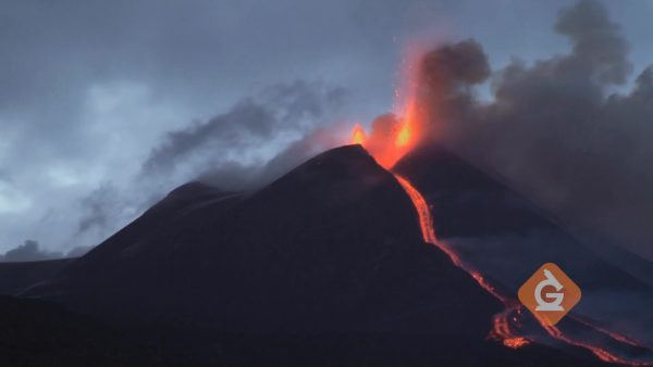 lava flows quickly from a volcano