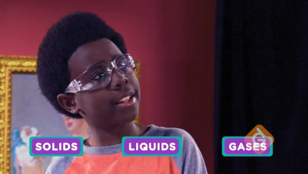 boy reviews the 3 main phases of matter