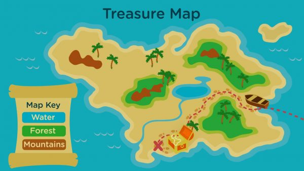treasure map diagram of an island